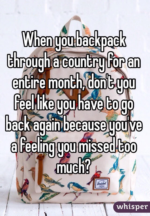 When you backpack through a country for an entire month, don't you feel like you have to go back again because you've a feeling you missed too much?