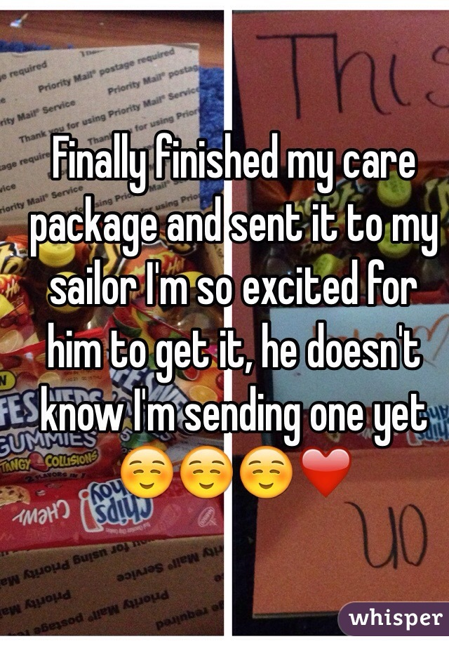 Finally finished my care package and sent it to my sailor I'm so excited for him to get it, he doesn't know I'm sending one yet☺️☺️☺️❤️