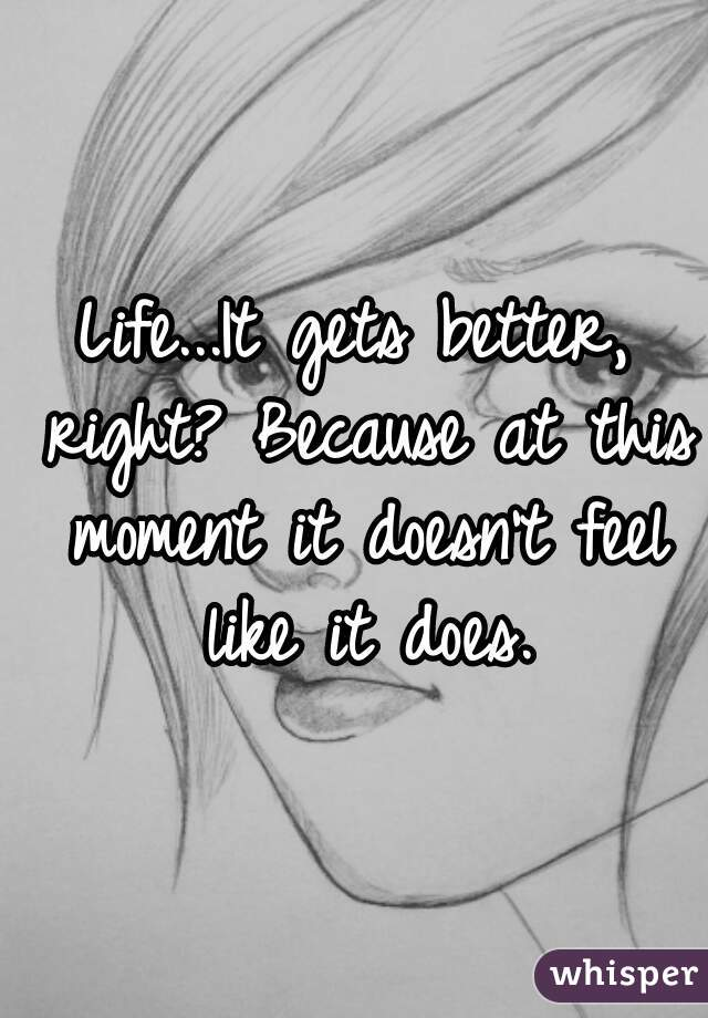 Life...It gets better, right? Because at this moment it doesn't feel like it does.
