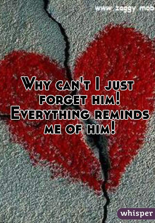 Why can't I just forget him! Everything reminds me of him!