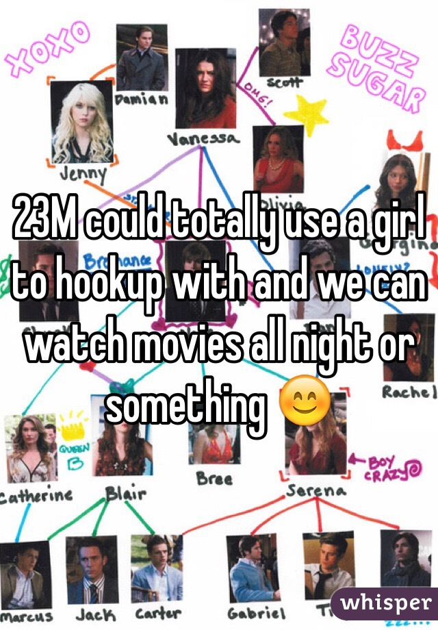 23M could totally use a girl to hookup with and we can watch movies all night or something 😊