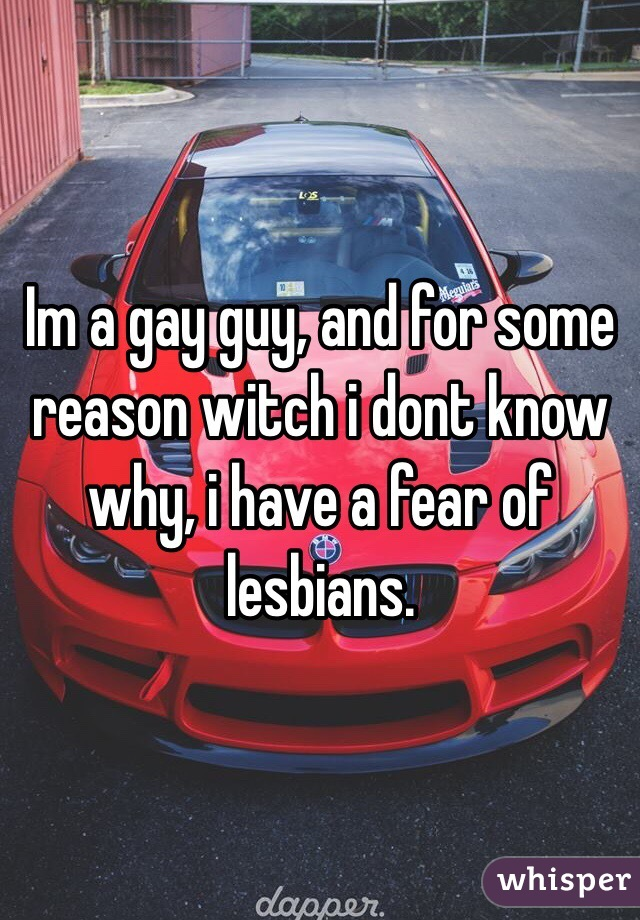 Im a gay guy, and for some reason witch i dont know why, i have a fear of lesbians.
