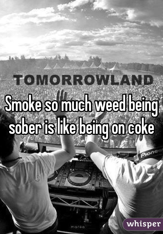 Smoke so much weed being sober is like being on coke