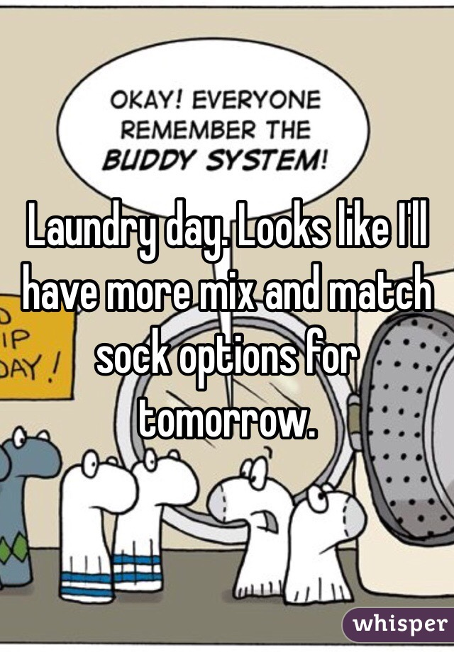 Laundry day. Looks like I'll have more mix and match sock options for tomorrow.