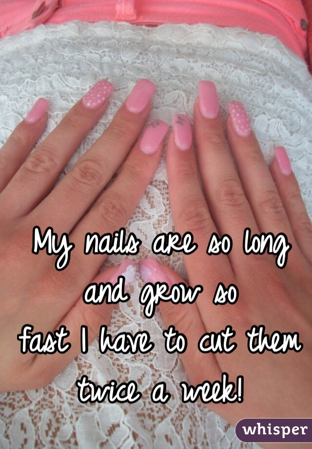 My nails are so long and grow so  fast I have to cut them  twice a week!