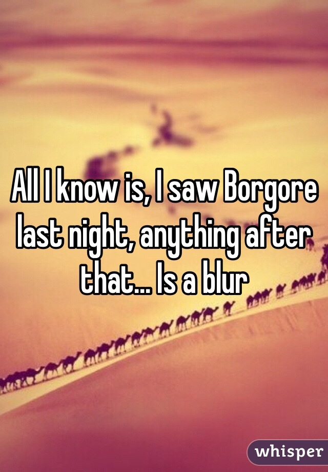 All I know is, I saw Borgore last night, anything after that... Is a blur