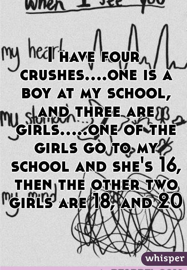 I have four crushes....one is a boy at my school, and three are girls.....one of the girls go to my school and she's 16, then the other two girls are 18, and 20