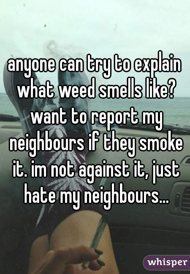 anyone can try to explain what weed smells like? want to report my neighbours if they smoke it. im not against it, just hate my neighbours...