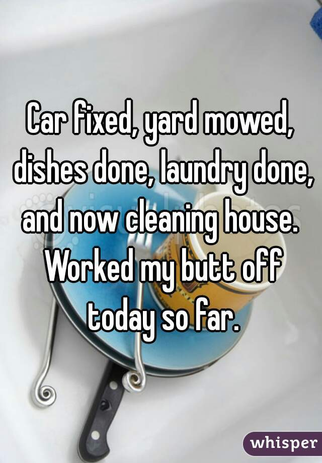 Car fixed, yard mowed, dishes done, laundry done, and now cleaning house.  Worked my butt off today so far.