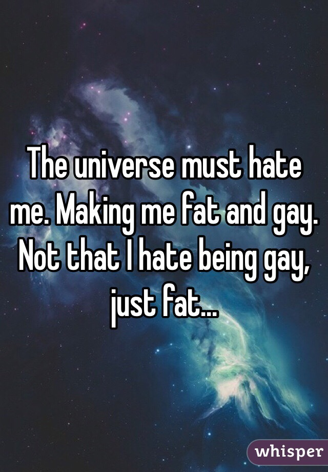 The universe must hate me. Making me fat and gay. Not that I hate being gay, just fat...