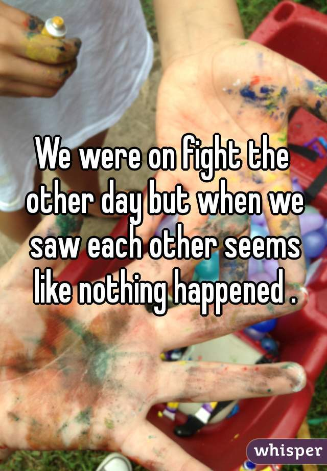 We were on fight the other day but when we saw each other seems like nothing happened .