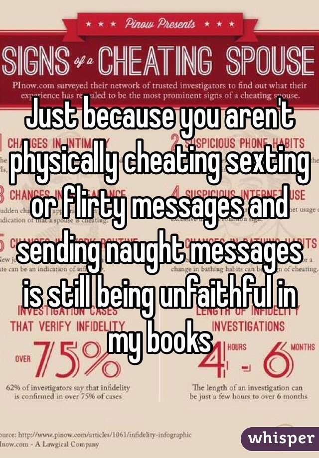 Just because you aren't physically cheating sexting or flirty messages and sending naught messages is still being unfaithful in my books