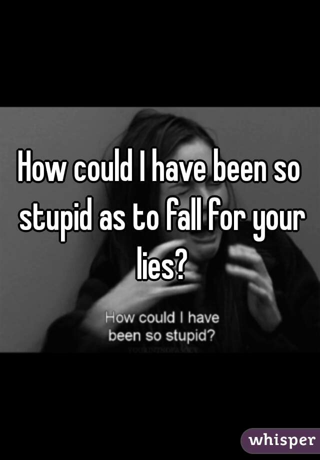 How could I have been so stupid as to fall for your lies?