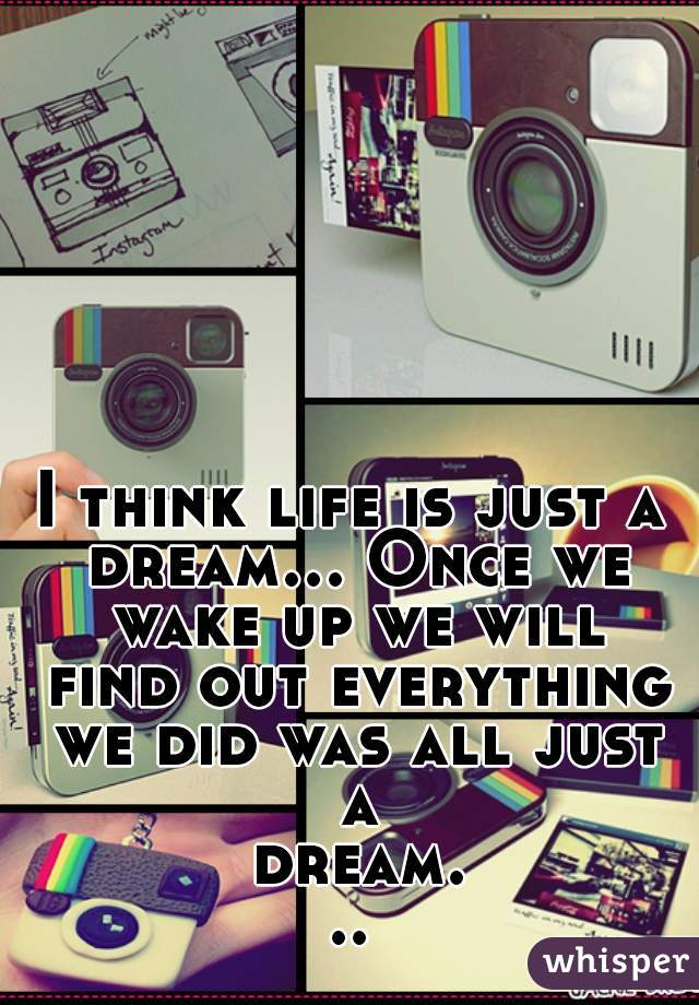 I think life is just a dream... Once we wake up we will find out everything we did was all just a dream...