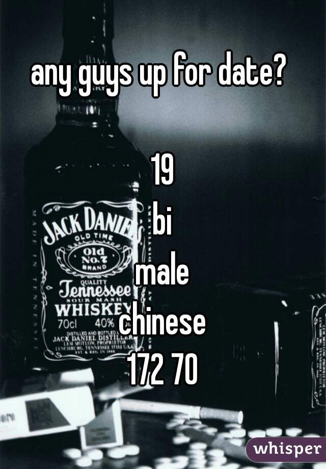 any guys up for date?   19 bi male chinese 172 70