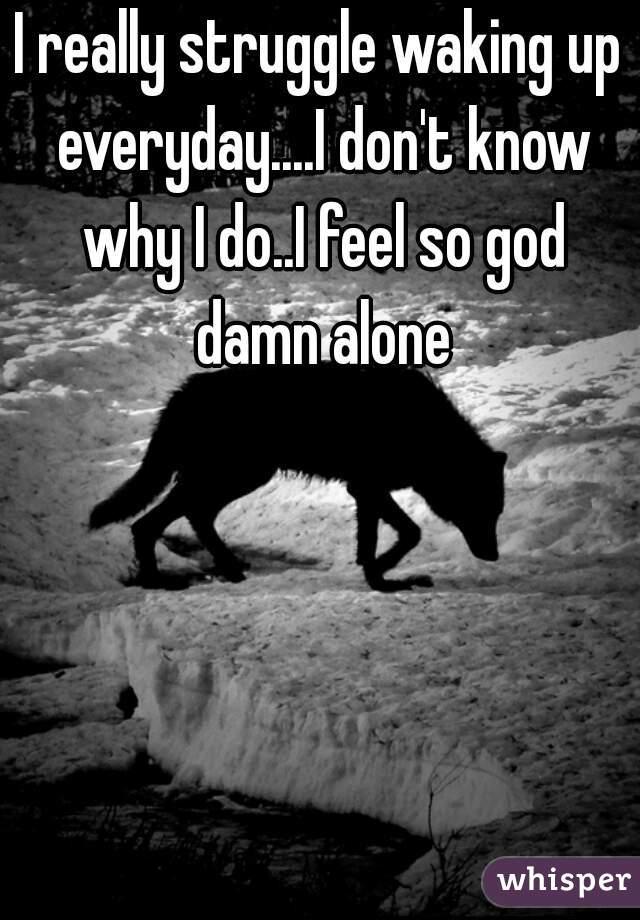 I really struggle waking up everyday....I don't know why I do..I feel so god damn alone
