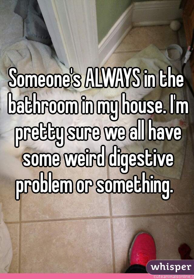 Someone's ALWAYS in the bathroom in my house. I'm pretty sure we all have some weird digestive problem or something.