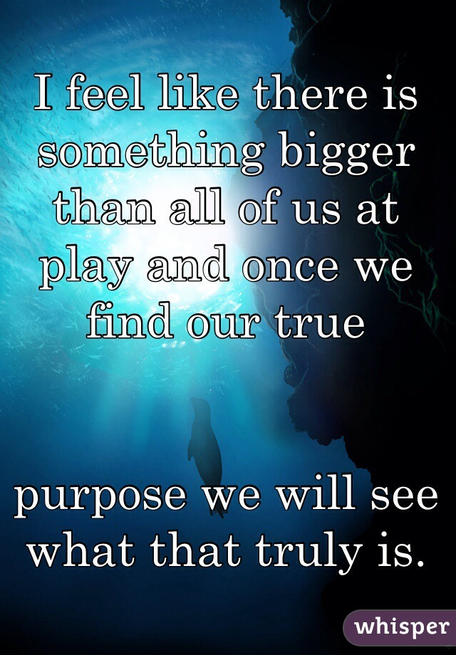 I feel like there is something bigger than all of us at play and once we find our true    purpose we will see what that truly is.