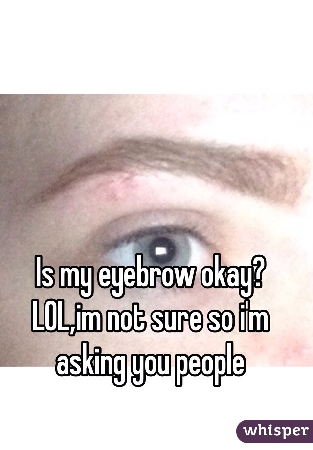 Is my eyebrow okay? LOL,im not sure so i'm asking you people
