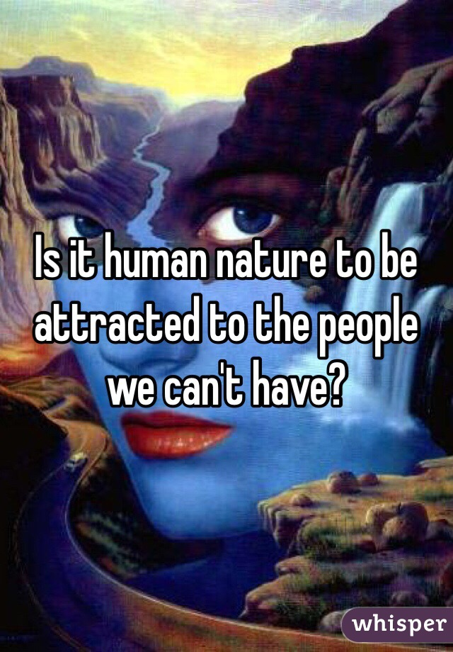 Is it human nature to be attracted to the people we can't have?