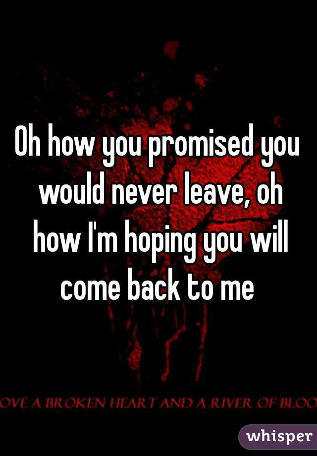 Oh how you promised you would never leave, oh how I'm hoping you will come back to me
