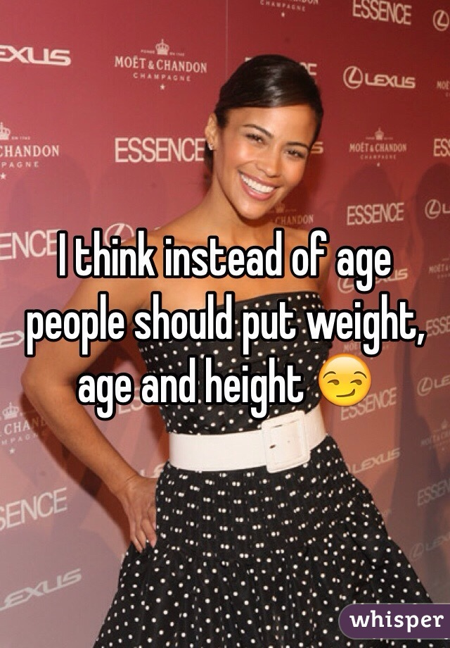 I think instead of age people should put weight, age and height 😏