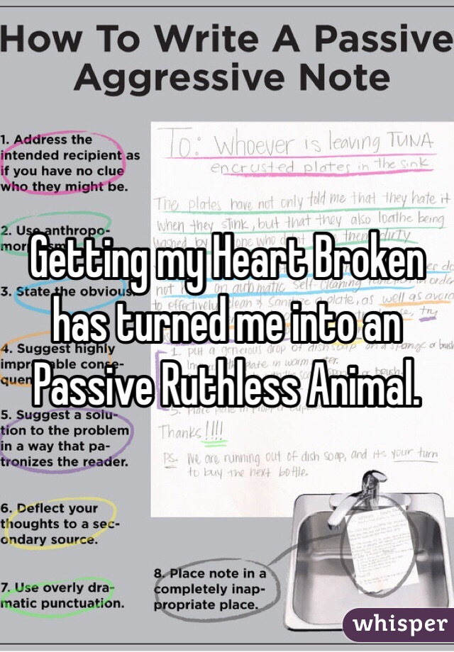 Getting my Heart Broken has turned me into an Passive Ruthless Animal.