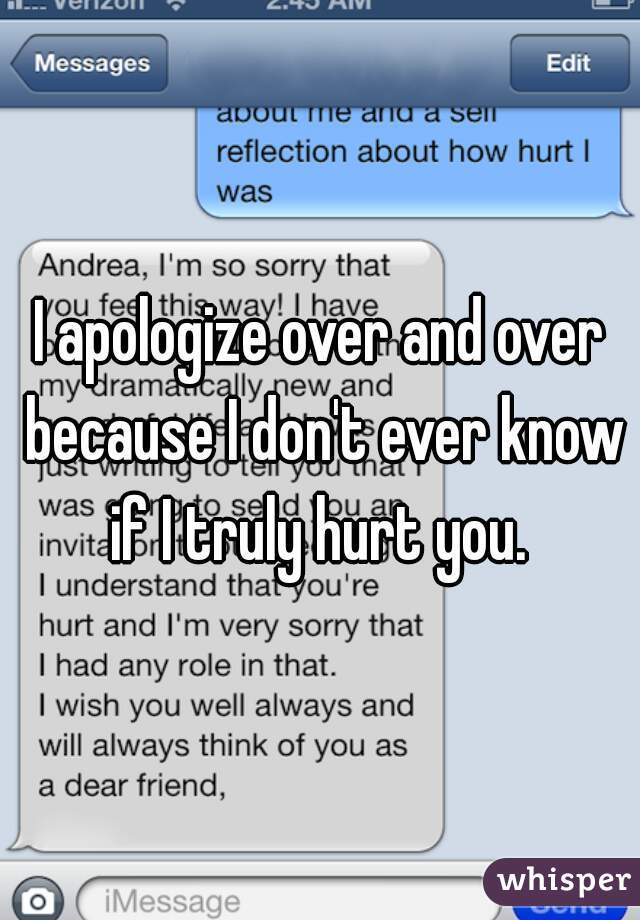 I apologize over and over because I don't ever know if I truly hurt you.