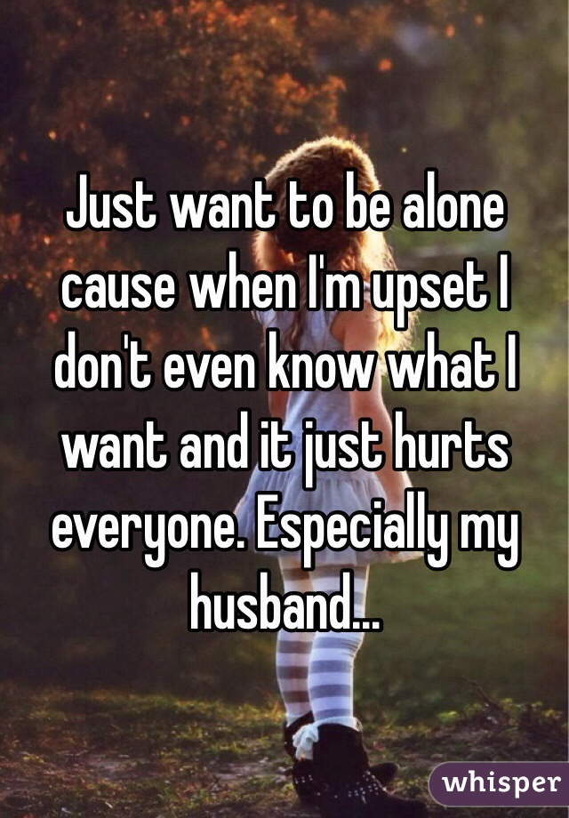 Just want to be alone cause when I'm upset I don't even know what I want and it just hurts everyone. Especially my husband...