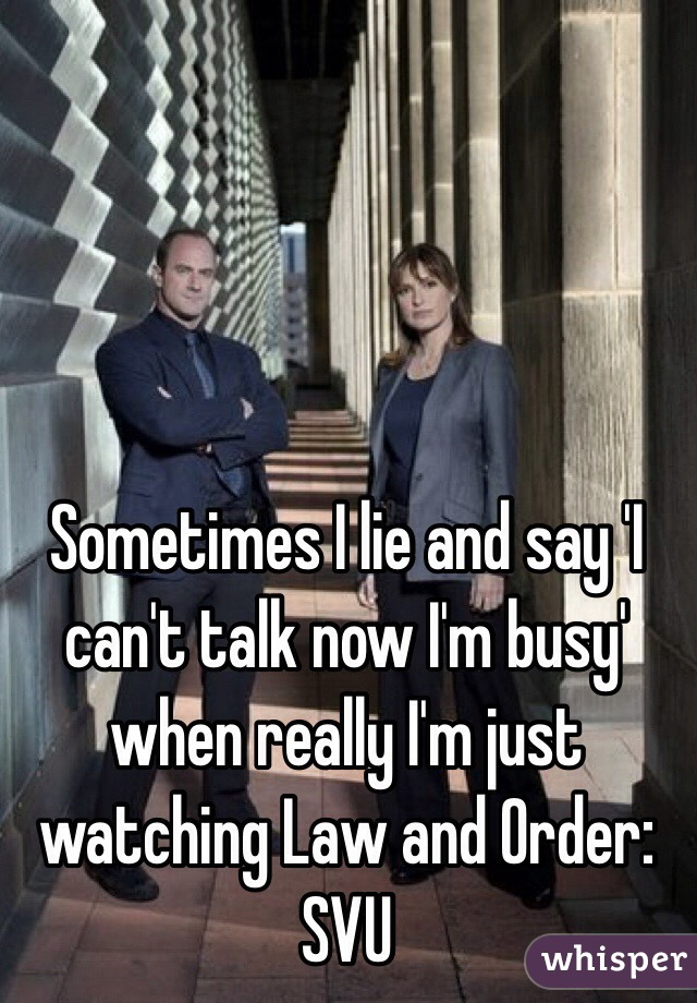 Sometimes I lie and say 'I can't talk now I'm busy' when really I'm just watching Law and Order: SVU