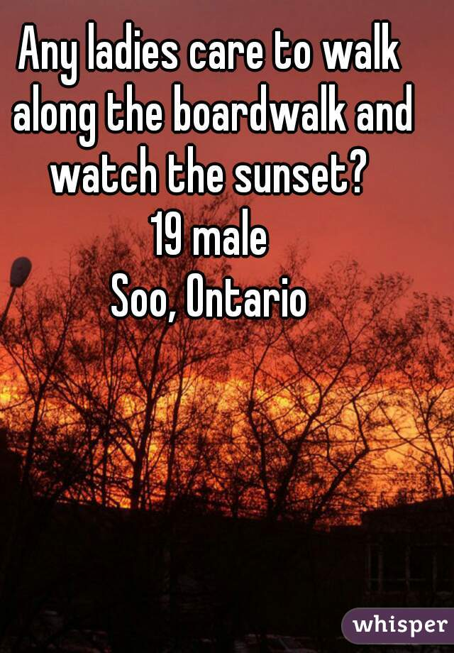 Any ladies care to walk along the boardwalk and watch the sunset?  19 male Soo, Ontario