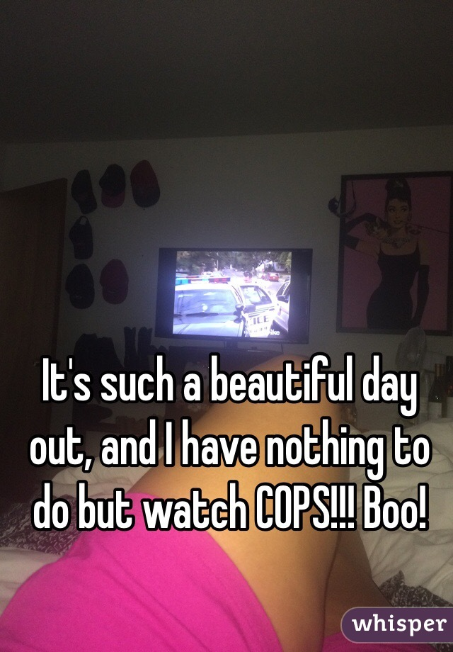 It's such a beautiful day out, and I have nothing to do but watch COPS!!! Boo!