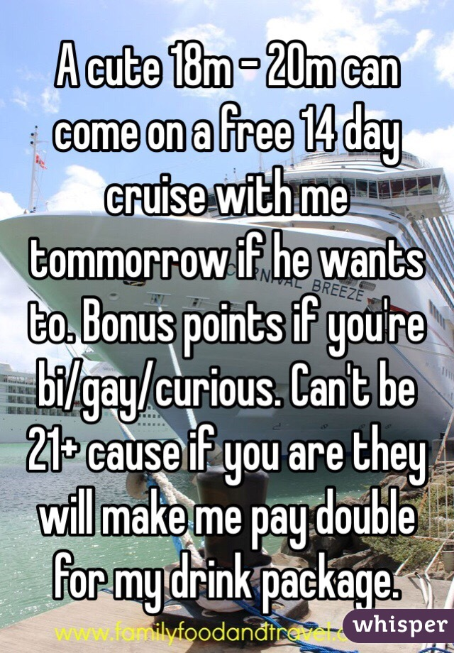 A cute 18m - 20m can come on a free 14 day cruise with me tommorrow if he wants to. Bonus points if you're bi/gay/curious. Can't be 21+ cause if you are they will make me pay double for my drink package.