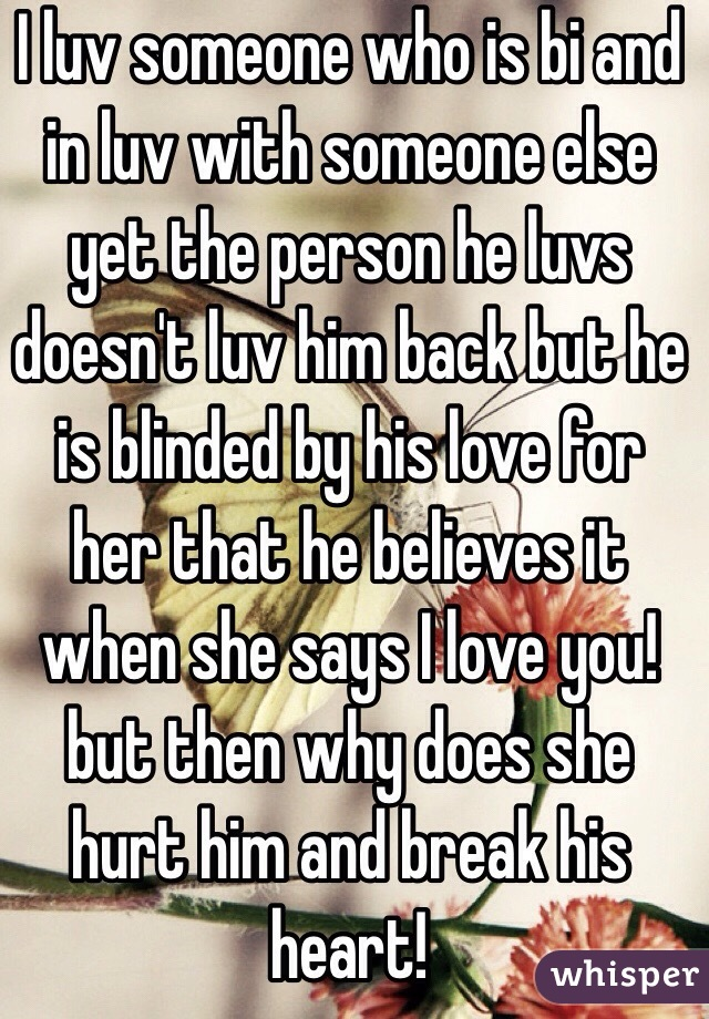 I luv someone who is bi and in luv with someone else yet the person he luvs doesn't luv him back but he is blinded by his love for her that he believes it when she says I love you!  but then why does she hurt him and break his heart!