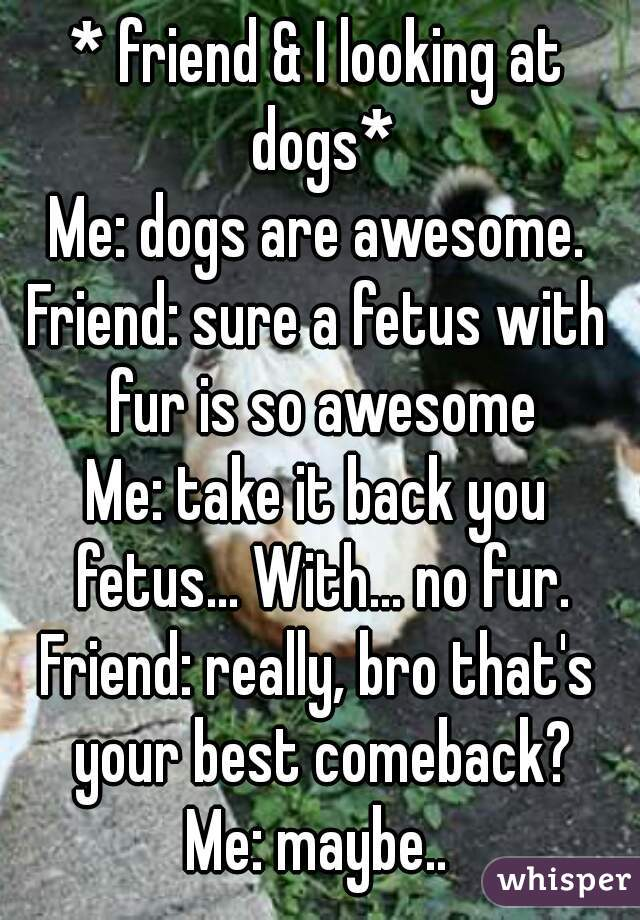 * friend & I looking at dogs* Me: dogs are awesome. Friend: sure a fetus with fur is so awesome Me: take it back you fetus... With... no fur. Friend: really, bro that's your best comeback? Me: maybe..