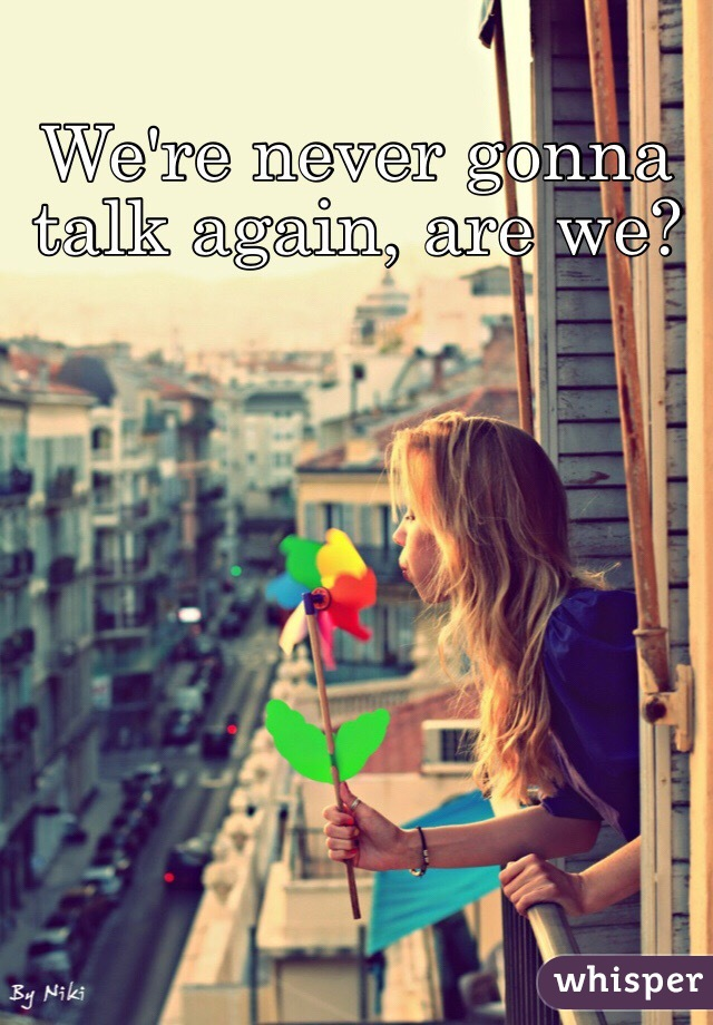 We're never gonna talk again, are we?