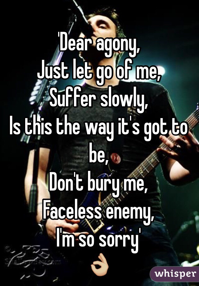 'Dear agony,  Just let go of me,  Suffer slowly,  Is this the way it's got to be, Don't bury me,  Faceless enemy,  I'm so sorry'  👌🏼