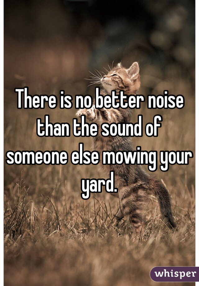 There is no better noise than the sound of someone else mowing your yard.