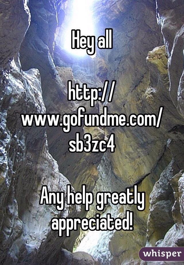 Hey all  http://www.gofundme.com/sb3zc4  Any help greatly appreciated!