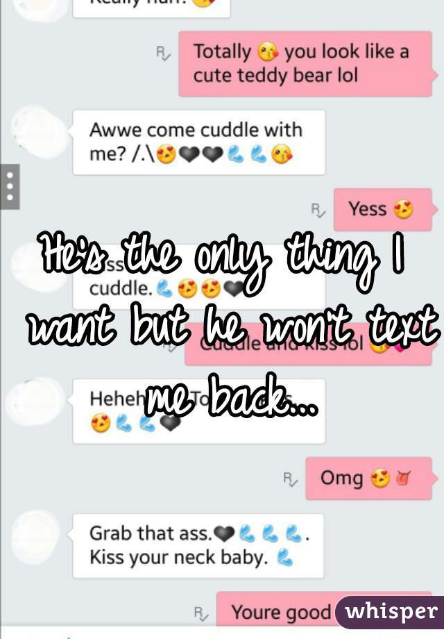 He's the only thing I want but he won't text me back...