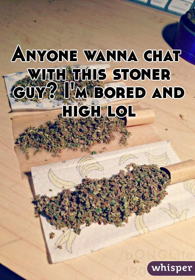 Anyone wanna chat with this stoner guy? I'm bored and high lol