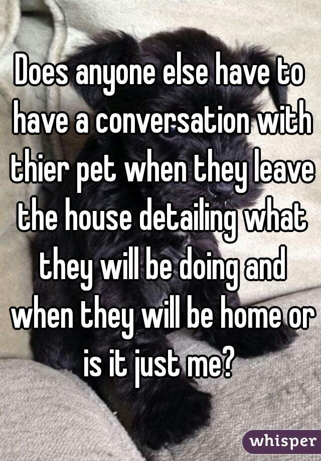 Does anyone else have to have a conversation with thier pet when they leave the house detailing what they will be doing and when they will be home or is it just me?