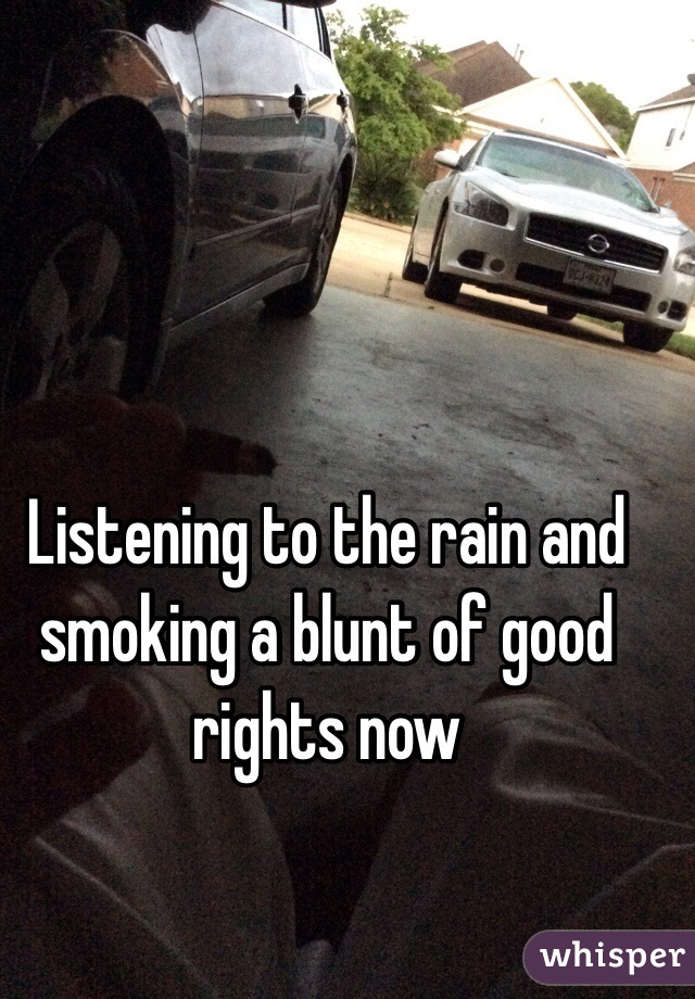 Listening to the rain and smoking a blunt of good rights now