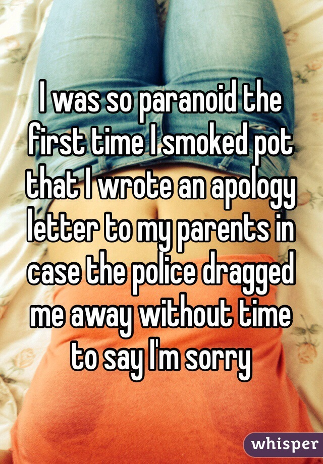 I was so paranoid the first time I smoked pot that I wrote an