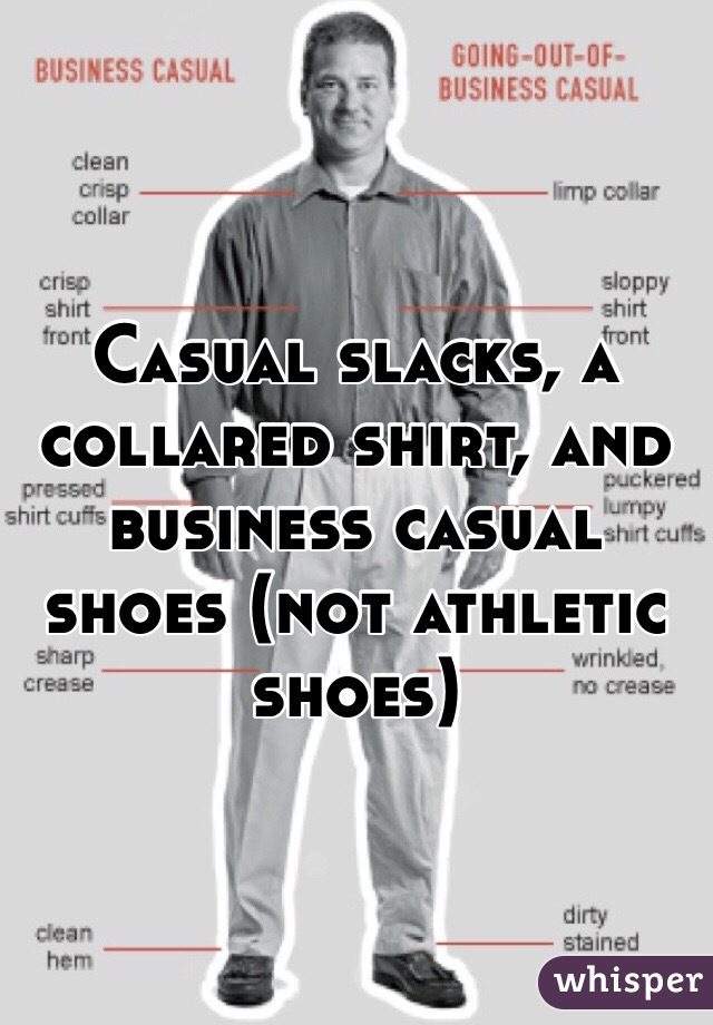 Casual Slacks A Collared Shirt And Business Shoes Not Athletic