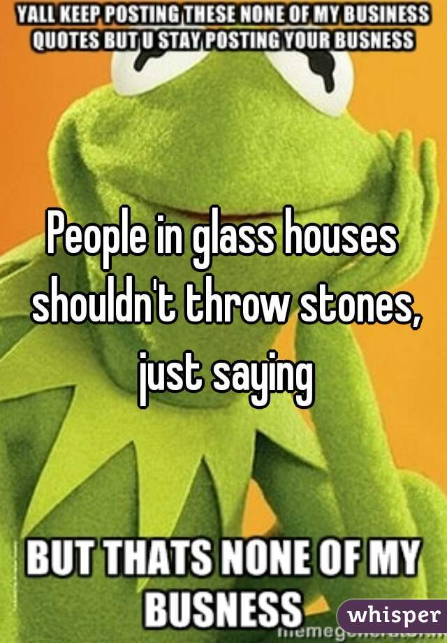 People In Glass Houses Shouldn T Throw Stones Just Saying