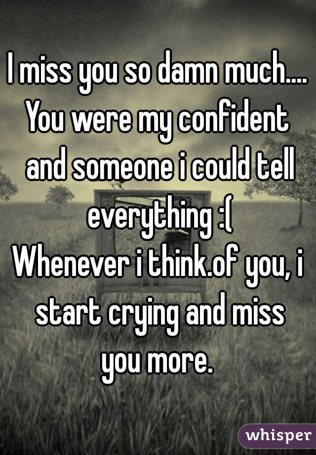 I miss you so damn much. You were my confident and