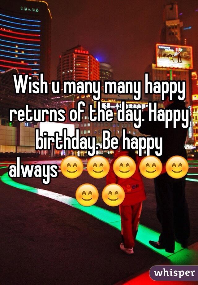 Wish U Many Many Happy Returns Of The Day Happy Birthday Be Happy