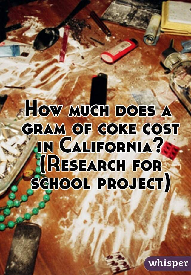 How much does a gram of coke cost in California? (Research for