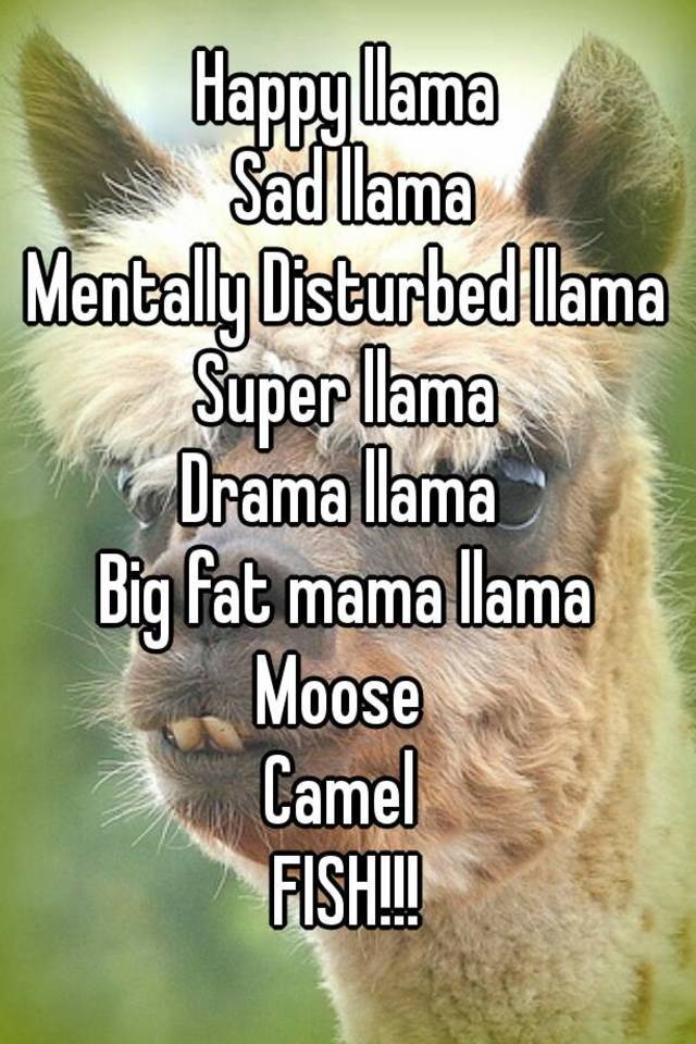 Happy Llama Sad Mentally Disturbed Super Drama Big Fat Mama Moose Camel FISH